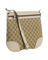 Gucci | Natural Beige and Ivory Gg Canvas Mayfair Crossbody Bag | Lyst