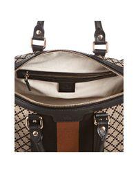 Gucci - Brown Black and Beige Diamante Canvas Vintage Web Medium Boston Bag - Lyst