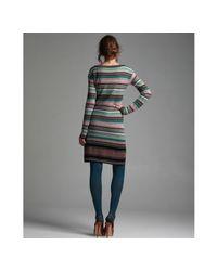 M Missoni - Black Dot Stripe Wool Blend Empire Waist Dress - Lyst