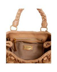 Miu Miu | Brown Tan Ruched Leather Matelasse Top Handle Bag | Lyst
