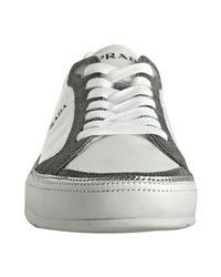 Prada | Gray Sport White Nylon Suede Trim Sneakers for Men | Lyst