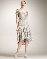 Zac Posen | Gray Floral-print Silk Dress | Lyst