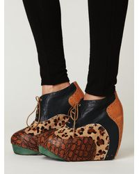 Free People | Brown Malindi Patchwork Platform | Lyst