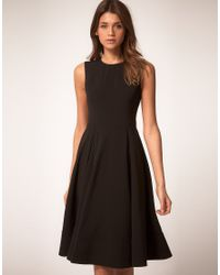 ASOS Collection - Black Asos Midi Dress with Full Skirt - Lyst