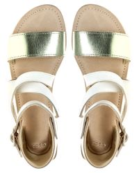 ASOS | Metallic Asos Flipper Flat Leather Sandals  | Lyst
