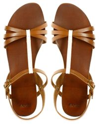 ASOS - Brown Flossy Leather Sandals  - Lyst