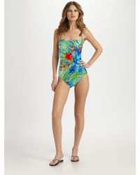 Gottex - Blue Seychelles Floral-print Maillot - Lyst