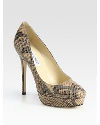 Jimmy Choo | Multicolor Crown Snake-embossed Leather Platform Pumps | Lyst
