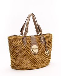 Michael Kors | Natural Margo Straw Basket Bag, Bronze | Lyst