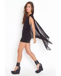 Nasty Gal - Black Rush Cape Dress - Lyst