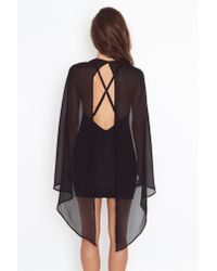 Nasty Gal | Black Rush Cape Dress | Lyst