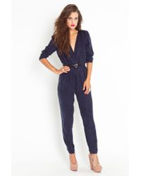 Nasty Gal - Blue Joanna Wrap Jumpsuit - Lyst