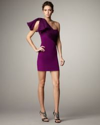 Notte by Marchesa | Purple Organdy-wrapped One-shoulder Dress | Lyst