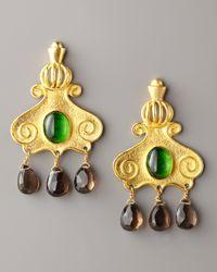 Stephanie Anne - Green Gold-plated Cupola Drop Earrings - Lyst