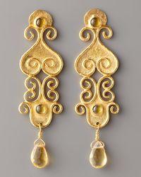 Stephanie Anne - Metallic Textured Gold & Citrine Drop Earrings - Lyst