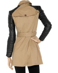 W118 by Walter Baker | Black Milly Cotton and Faux Leather Trench | Lyst