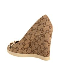 Gucci - Natural Ebony Gg Canvas Charlotte Peep Toe Wedges - Lyst