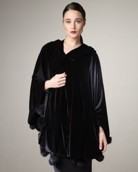 Ilana Wolf | Black Rabbit-trim Velvet Cape | Lyst