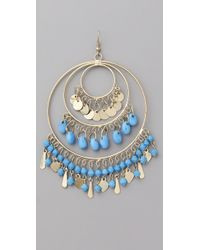 Kenneth Jay Lane - Blue Gold 3 Ring Gypsy Hoop Earrings - Lyst