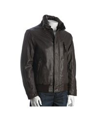Marc New York | Brown Espresso Leather Logan Faux Fur Collar Bomber Jacket for Men | Lyst