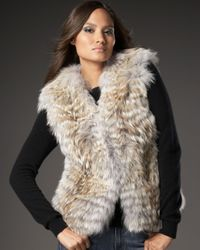 Sofia Cashmere - Natural Feathered Coyote Vest - Lyst