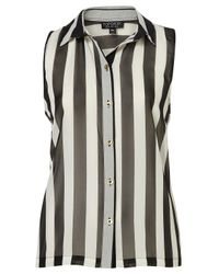 TOPSHOP | Black Sleeveless Stripe Shirt | Lyst