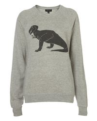 TOPSHOP | Gray Dinosaur Sweat | Lyst