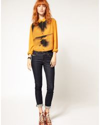 DIESEL - Yellow Crop Printed Front Shirt - Lyst