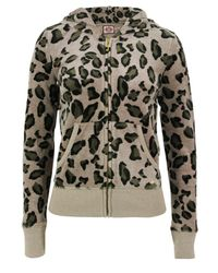 Juicy Couture | Natural Leopard Print Velour Hooded Top | Lyst
