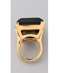 Kenneth Jay Lane - Metallic Large Polished Gold & Jet Ring - Lyst