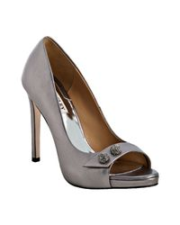 Badgley Mischka | Pewter Metallic Leather Simba Ii Pumps | Lyst