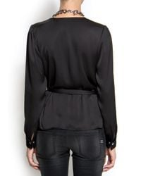 Mango | Black Wrap Blouse | Lyst