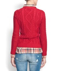 Mango - Red Relaxed-fit Openwork Knitted Sweater - Lyst