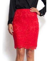 Mango - Red Slim-fit High-waist Lace Skirt - Lyst