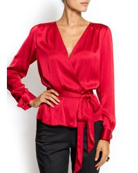 Mango | Red Wrap Blouse | Lyst