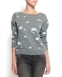 Mango | Metallic Stars Jumper Grey | Lyst