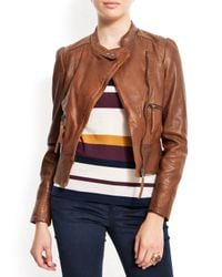 Mango | Brown Biker Leather Jacket | Lyst