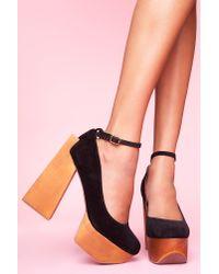 Nasty Gal | Black Safety Platform Heel | Lyst