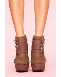 Nasty Gal - Brown Mercer Wedge Boot - Cocoa - Lyst