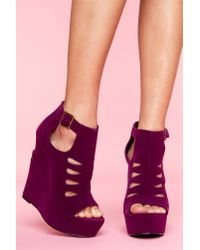 Nasty Gal | Purple Garcelle Cutout Wedge - Wine Velvet | Lyst