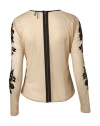 TOPSHOP - Natural Long Sleeve Mesh Sequin Blouse - Lyst