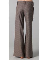 Alice + Olivia - Brown Wide Leg Tweed Pants - Lyst