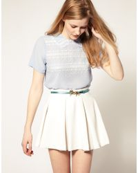 ASOS Collection | Blue Asos Sheer Blouse with Embroidery | Lyst