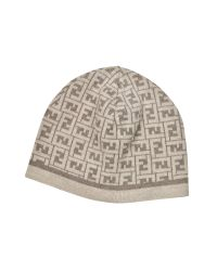 Fendi - Brown All Over Zucca Logo Knit Wool Skull Cap - Lyst