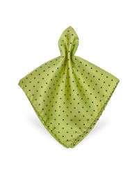 FORZIERI - Green Polkadot Twill Silk Pocket Square for Men - Lyst
