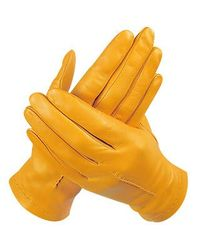 FORZIERI - Yellow Ocher Unlined Italian Leather Gloves - Lyst