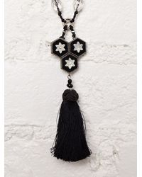 Free People - Black Vintage Beaded Tassel Necklace - Lyst