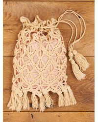 Free People - Natural Vintage Crochet Purse with Pink Lining - Lyst