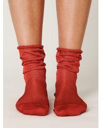 Free People - Red Slinky Sheer Ankle Sock - Lyst