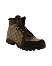Gucci | Brown Beige Gg Plus Fur Lined Boots for Men | Lyst